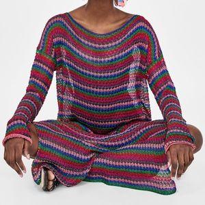 Zara MULTICOLORED STRIPED Knit Crochet Cover Dress